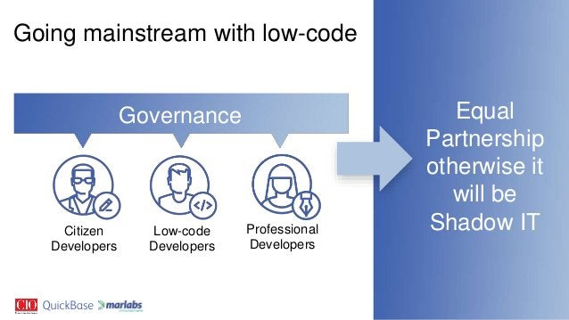 Equal Partnership otherwise it will be Shadow IT Going mainstream with low-code Governance Low-code Developers Professiona...