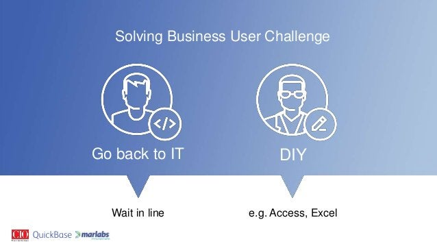 Solving Business User Challenge Go back to IT DIY Wait in line e.g. Access, Excel