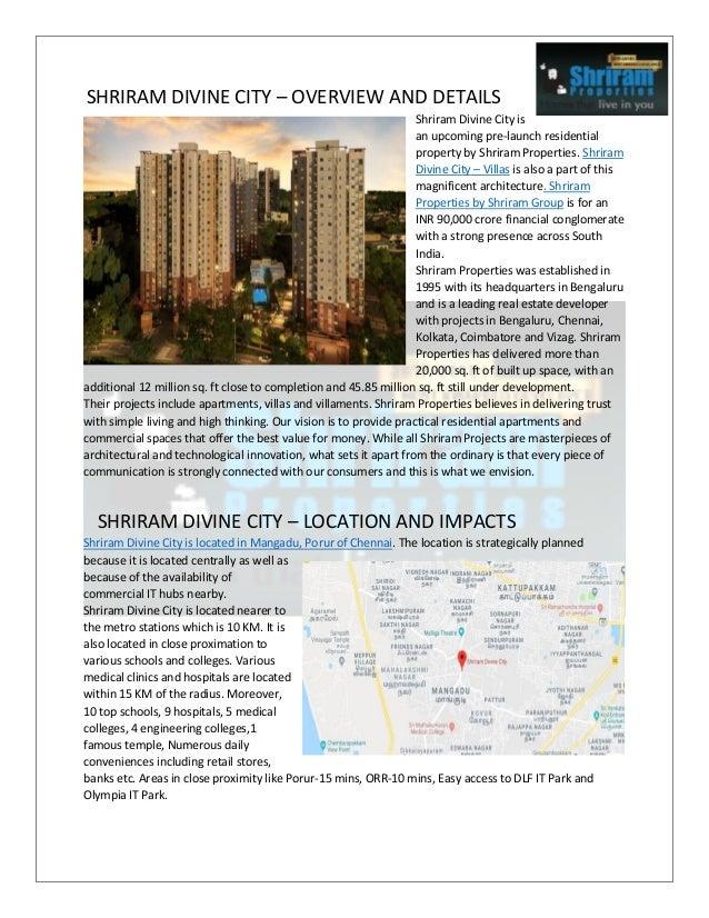 SHRIRAM DIVINE CITY – OVERVIEW AND DETAILS Shriram Divine City is an upcoming pre-launch residential property by Shriram P...