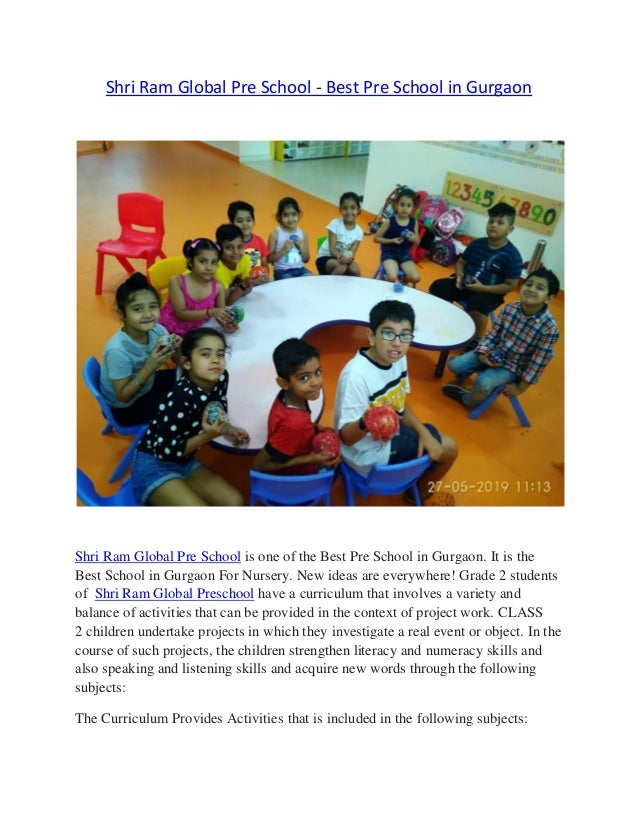 Shri Ram Global Pre School - Best Pre School in Gurgaon Shri Ram Global Pre School is one of the Best Pre School in Gurgao...