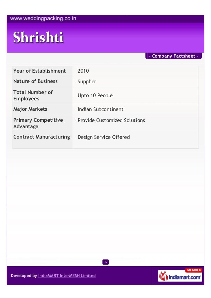 - Company Factsheet -Year of Establishment    2010Nature of Business       SupplierTotal Number of                        ...