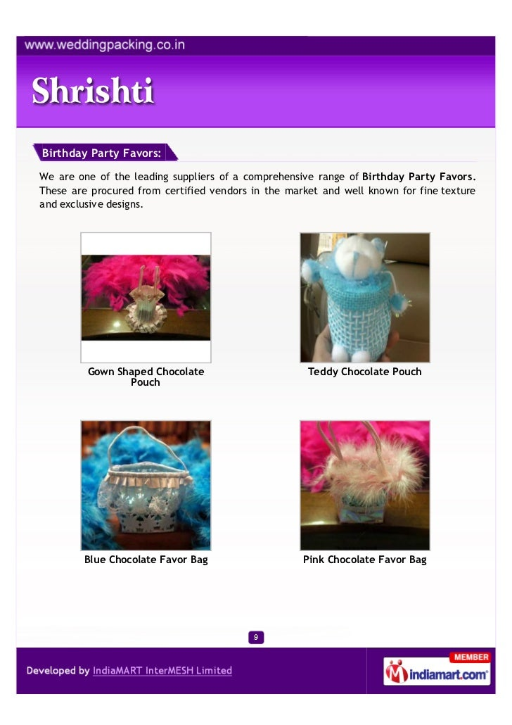 Birthday Party Favors:We are one of the leading suppliers of a comprehensive range of Birthday Party Favors.These are proc...