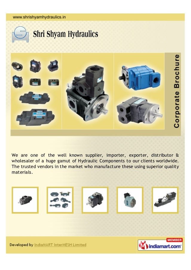 We are one of the well known supplier, importer, exporter, distributor &wholesaler of a huge gamut of Hydraulic Components...