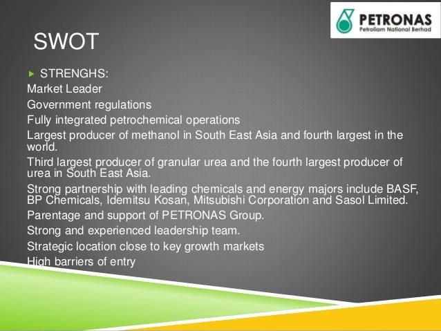 swot petronas Shell versus petronas presentation by: threats swot analysis strength weaknesses not meeting the standards of hsse in mexico royal dutch shell petronas.