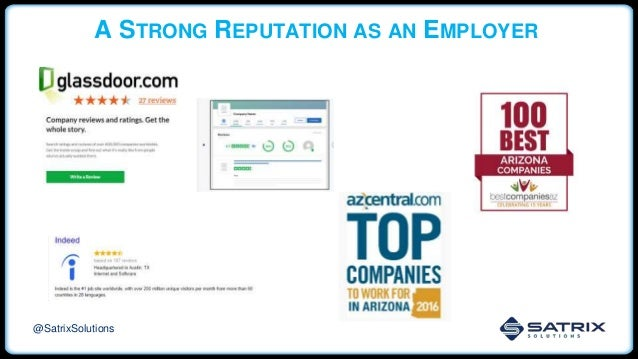 A STRONG REPUTATION AS AN EMPLOYER @SatrixSolutions