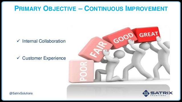 PRIMARY OBJECTIVE – CONTINUOUS IMPROVEMENT  Internal Collaboration  Customer Experience @SatrixSolutions