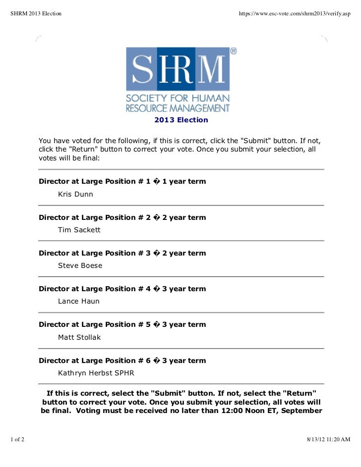 SHRM 2013 Election                                                     https://www.esc-vote.com/shrm2013/verify.asp       ...