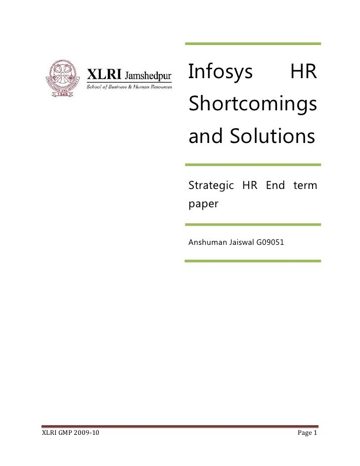 Infosys                   HR                    Shortcomings                    and Solutions                     Strategi...