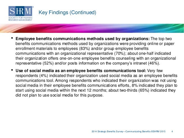 SHRM's 2014 Strategic Benefits Survey: Communicating Benefits