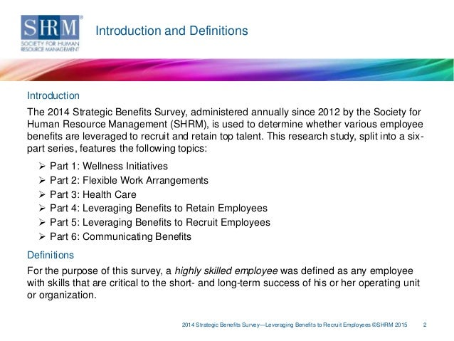 SHRM's 2014 Strategic Benefits Survey: Leveraging Benefits to Recruit…