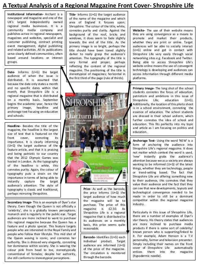 A Textual Analysis of a Regional Magazine Front Cover- Shropshire Life Institutional Information- Archant is a newspaper a...