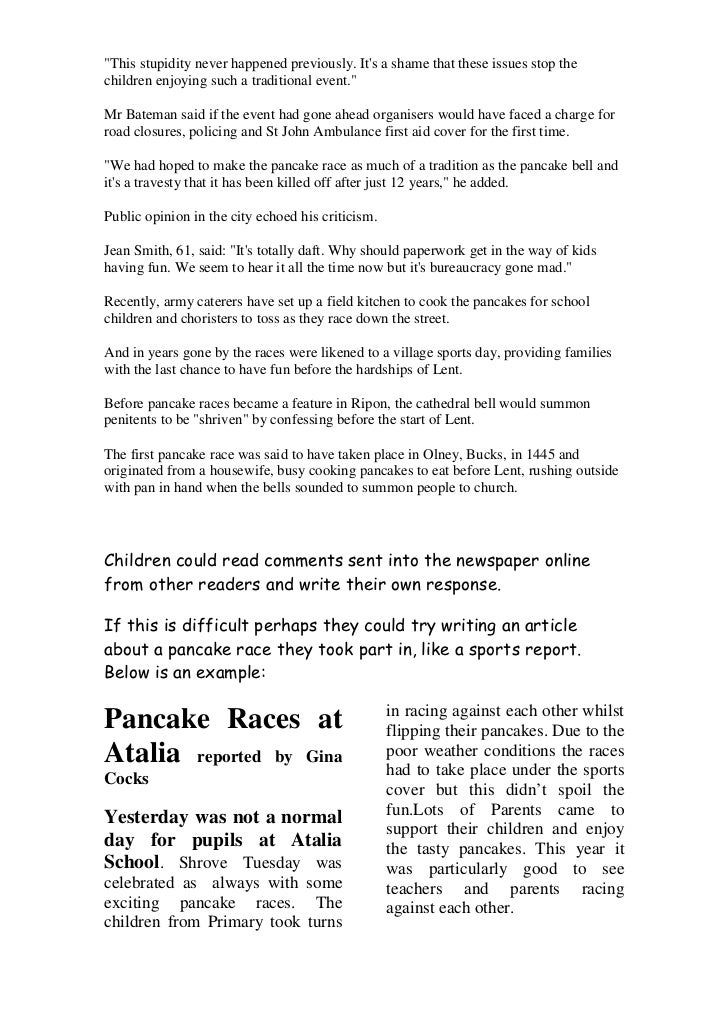 Pancake Day worksheet