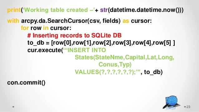 23 print('Working table created –'+ str(datetime.datetime.now())) with arcpy.da.SearchCursor(csv, fields) as cursor: for r...