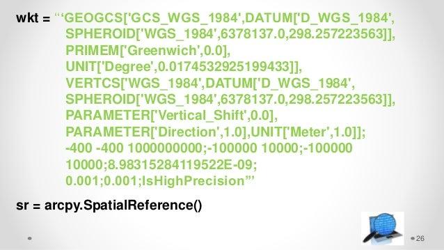 26 wkt = '''GEOGCS['GCS_WGS_1984',DATUM['D_WGS_1984', SPHEROID['WGS_1984',6378137.0,298.257223563]], PRIMEM['Greenwich',0....