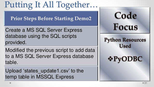 31 Putting It All Together… Prior Steps Before Starting Demo2 Create a MS SQL Server Express database using the SQL script...