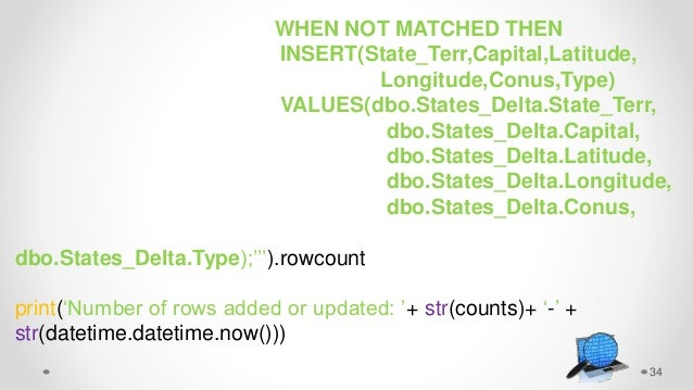 34 WHEN NOT MATCHED THEN INSERT(State_Terr,Capital,Latitude, Longitude,Conus,Type) VALUES(dbo.States_Delta.State_Terr, dbo...