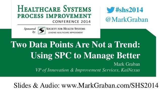 #shs2014 @MarkGraban  Two Data Points Are Not a Trend: Using SPC to Manage Better Mark Graban VP of Innovation & Improveme...