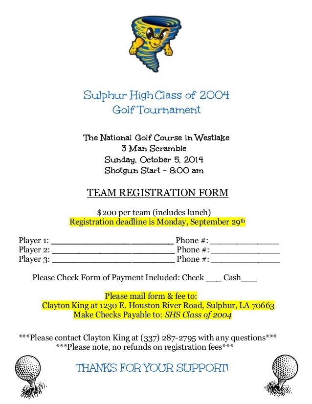 SHS Golf Tournament Team Registration Form