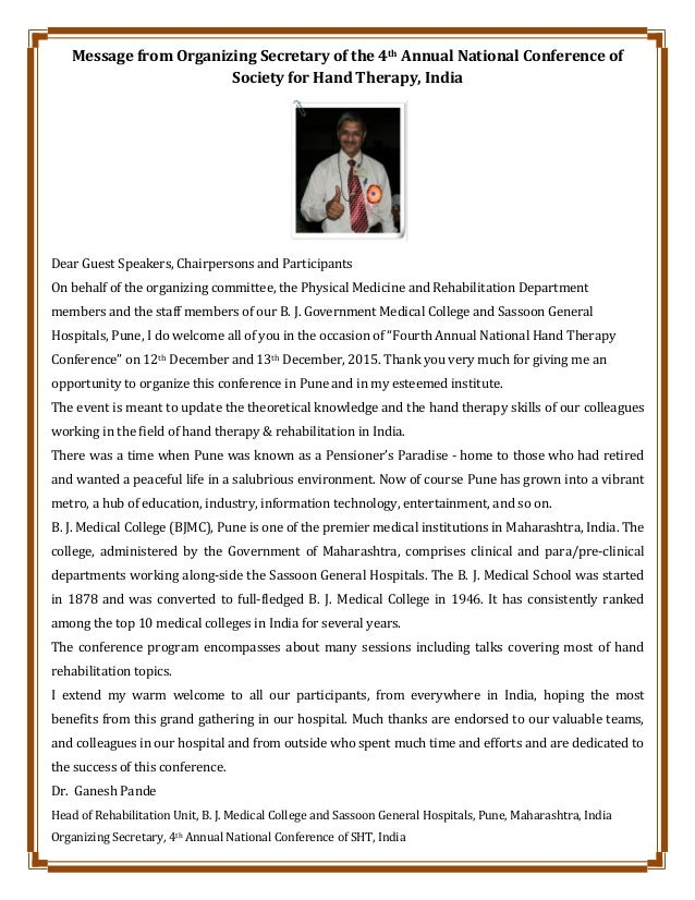 Message from Organizing Secretary of the 4th Annual National Conference of Society for Hand Therapy, India Dear Guest Spea...