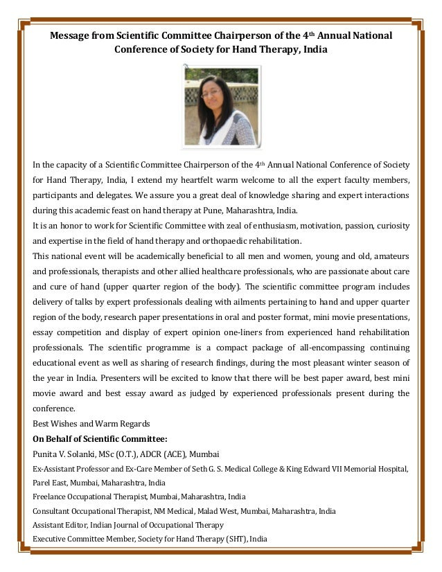 Message from Scientific Committee Chairperson of the 4th Annual National Conference of Society for Hand Therapy, India In ...