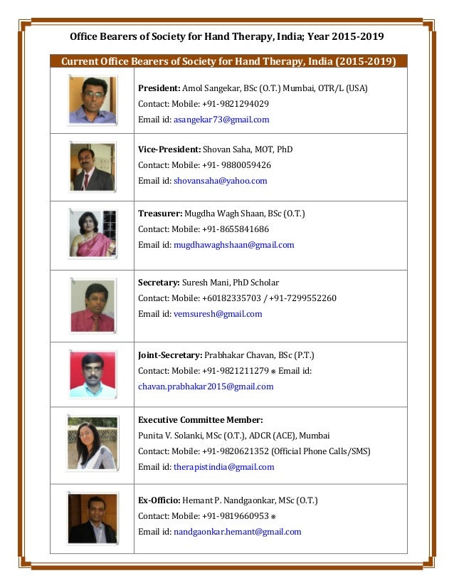 Office Bearers of Society for Hand Therapy, India; Year 2015-2019 Current Office Bearers of Society for Hand Therapy, Indi...