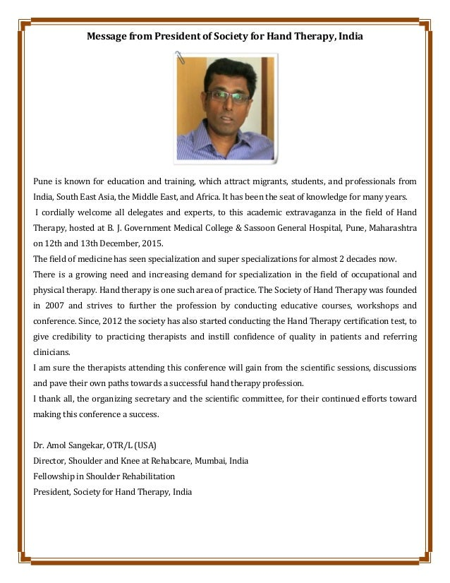 Message from President of Society for Hand Therapy, India Pune is known for education and training, which attract migrants...