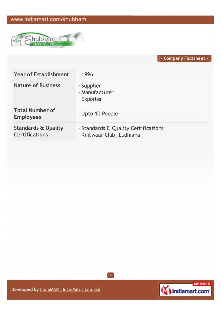 - Company Factsheet -Year of Establishment   1996Nature of Business      Supplier                        Manufacturer     ...