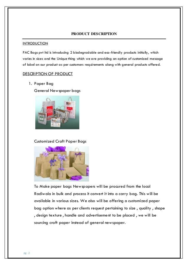 paper bag business plan pdf