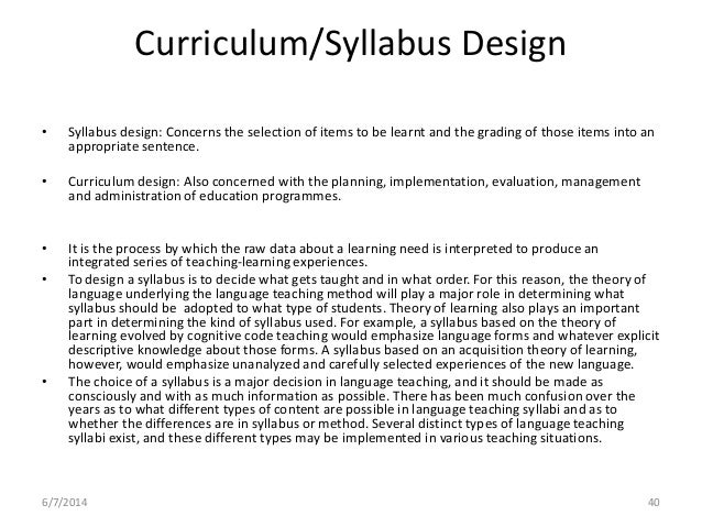 Curriculum and syllabus design