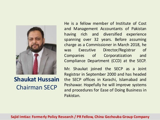 He is a fellow member of Institute of Cost and Management Accountants of Pakistan having rich and diversified experience s...