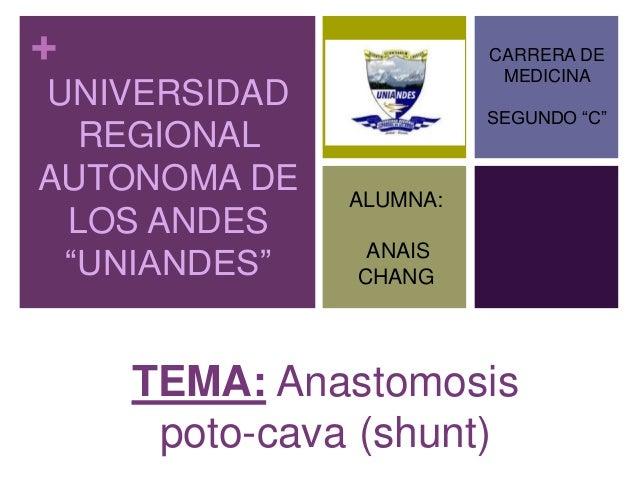 """+ UNIVERSIDAD REGIONAL AUTONOMA DE LOS ANDES """"UNIANDES"""" TEMA: Anastomosis poto-cava (shunt) CARRERA DE MEDICINA SEGUNDO """"C..."""