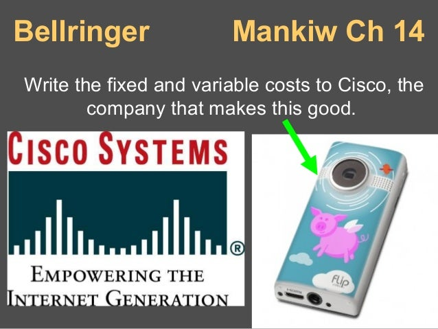 Bellringer  Mankiw Ch 14  Write the fixed and variable costs to Cisco, the company that makes this good.