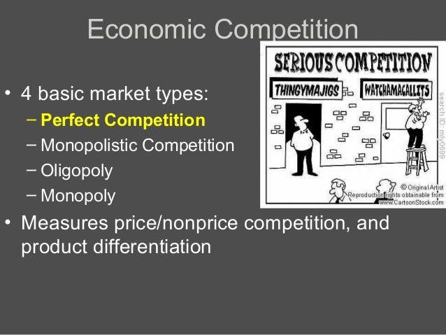 Economic Competition • 4 basic market types: – Perfect Competition – Monopolistic Competition – Oligopoly – Monopoly  • Me...