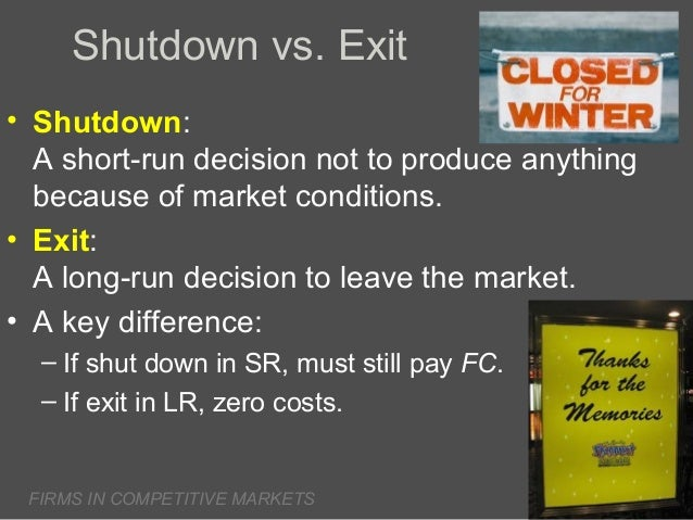 Shutdown vs. Exit • Shutdown: A short-run decision not to produce anything because of market conditions. • Exit: A long-ru...