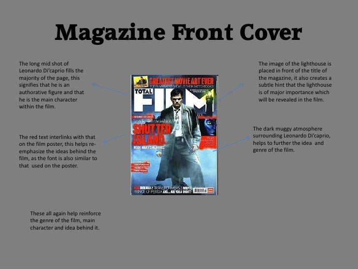 Magazine Front CoverThe long mid shot of                     The image of the lighthouse isLeonardo Di'caprio fills the   ...