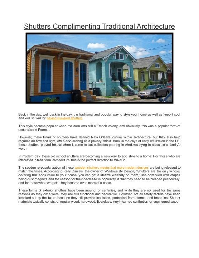 shutters compliment architecture