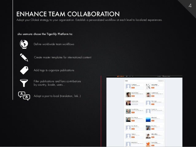 4ENHANCE TEAM COLLABORATIONAdapt your Global strategy to your organization. Establish a personalized workflow at each leve...