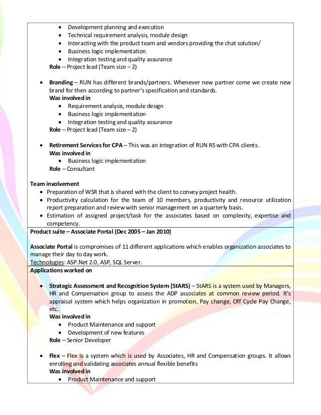 net technical lead resume