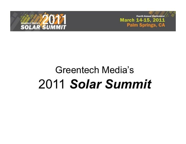 Greentech Media's2011 Solar Summit