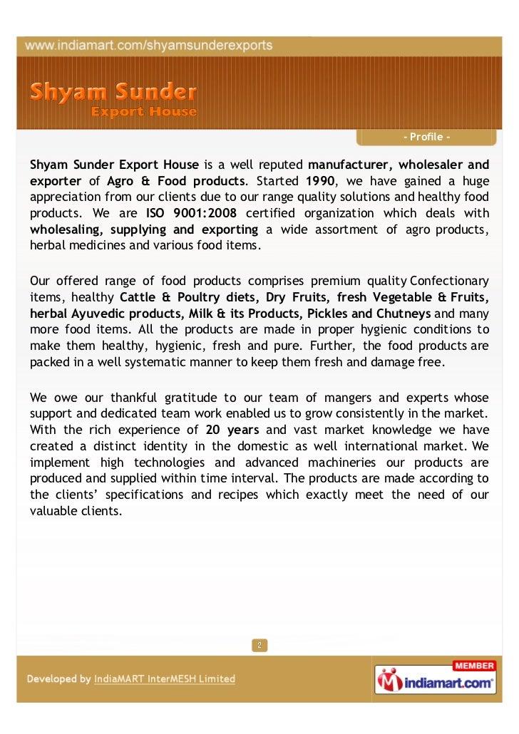 Shyam Sunder Export House, Kolkata, Food products  Slide 2