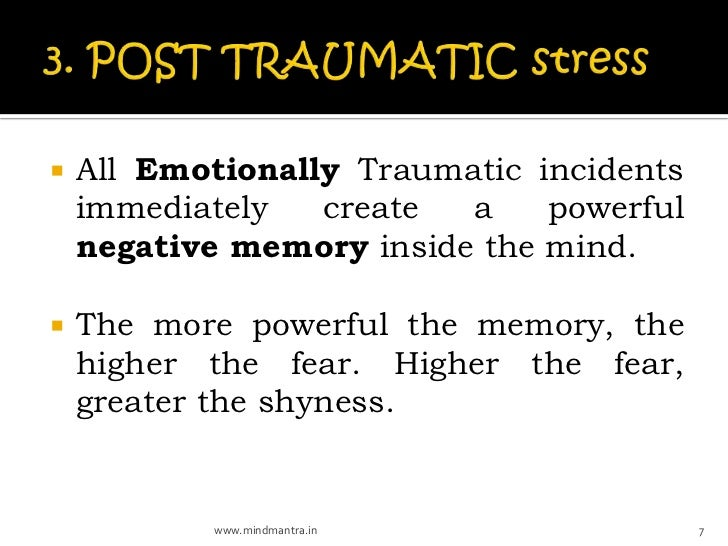    All Emotionally Traumatic incidents    immediately   create  a    powerful    negative memory inside the mind.   The ...