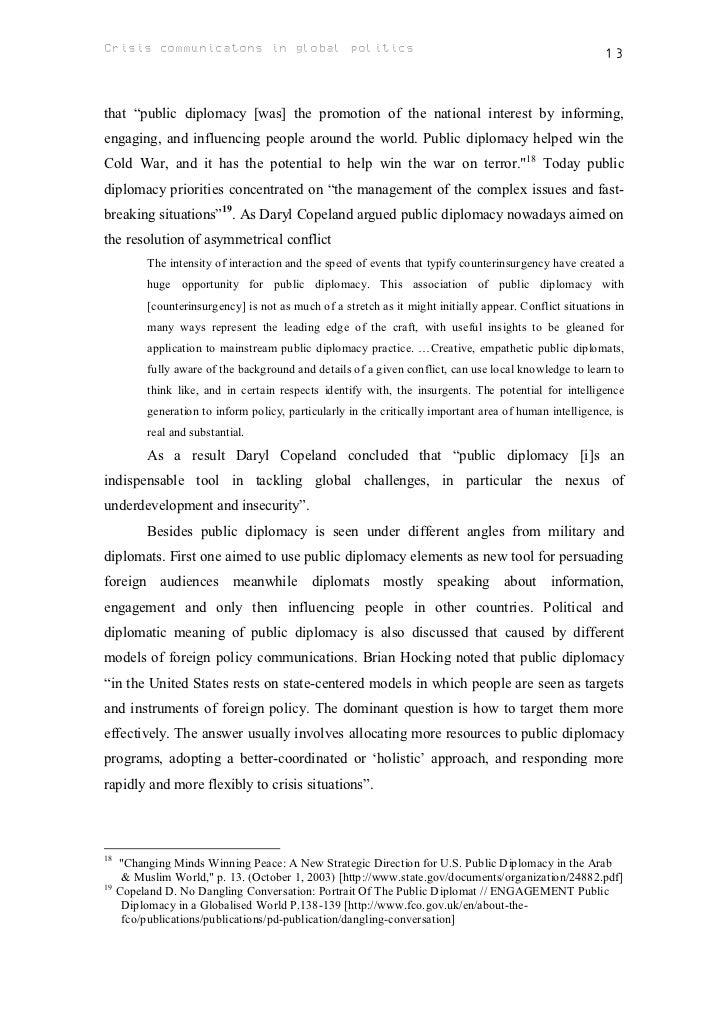 Crisis diplomacy essay