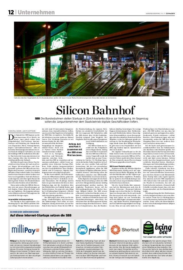 12 | Unternehmen handelszeitung | Nr. 21 | 23. Mai 2013keystone/tobiasfrieman Silicon BahnhofSBB Die Bundesbahnen stellen...