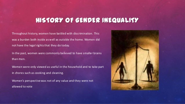 gender inequality throughout history essay Concept map essay - gender inequality gender inequality has been present in the united states throughout the history of its existence there are many forms of gender inequality such as occupational segregation or the gender pay gap.