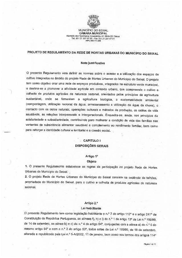 Projeto de Regulamento da Rede de Hortas Urbanas do Município do Seixal