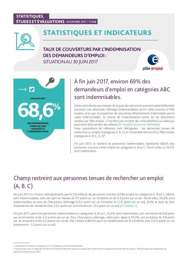 STATISTIQUES ET INDICATEURS TAUX DECOUVERTURE PAR L'INDEMNISATION DES DEMANDEURS D'EMPLOI : SITUATIONAU 30JUIN 2017 À fin ...