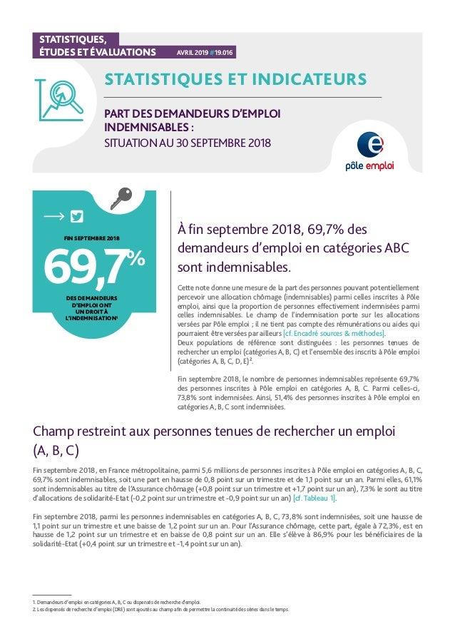 7d18d7de87a STATISTIQUES ET INDICATEURS PART DES DEMANDEURS D EMPLOI INDEMNISABLES    SITUATIONAU 30SEPTEMBRE 2018 À fin ...