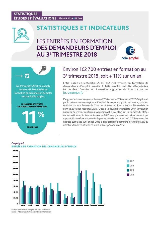 STATISTIQUES, ÉTUDES ET ÉVALUATIONS FÉVRIER 2019 #19.009 STATISTIQUES ET INDICATEURS LES ENTRÉES EN FORMATION DES DEMANDEU...