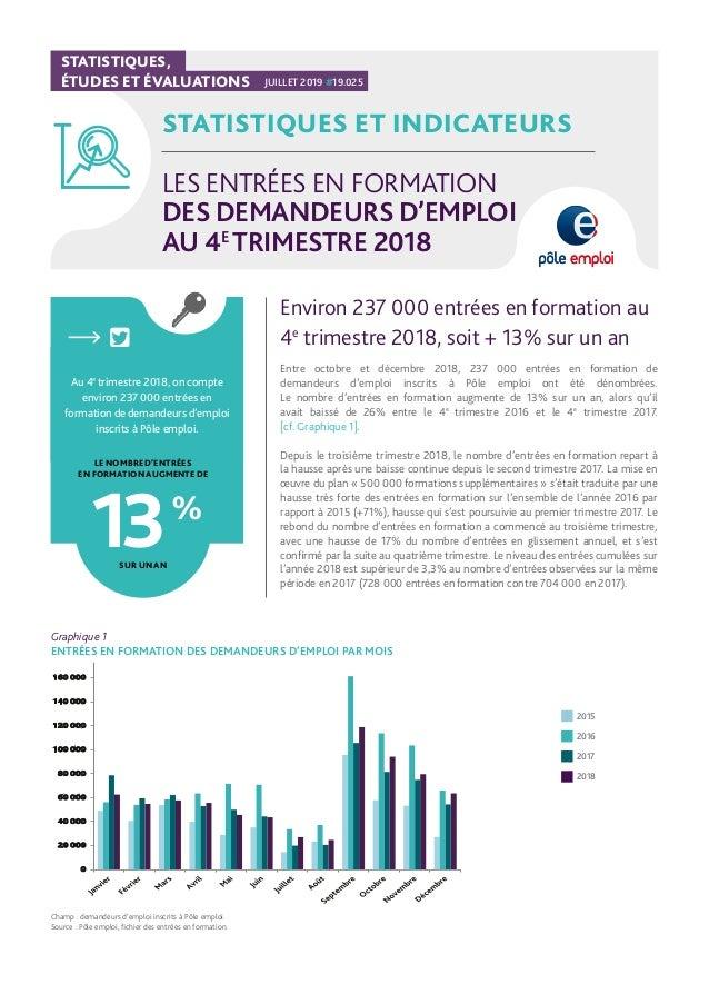 STATISTIQUES, ÉTUDES ET ÉVALUATIONS JUILLET 2019 #19.025 STATISTIQUES ET INDICATEURS LES ENTRÉES EN FORMATION DES DEMANDEU...