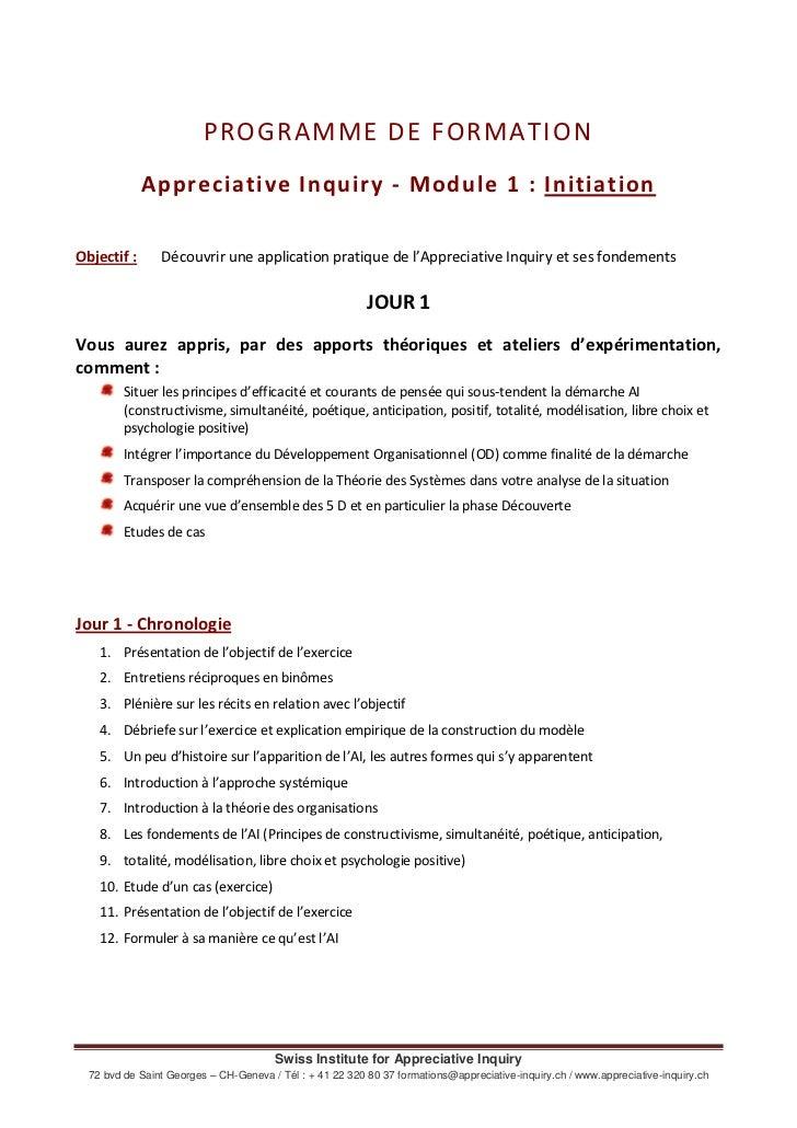 PROGRAMME DE FORMATION<br />Appreciative Inquiry - Module 1: Initiation<br />Objectif: Découvrir une application pratiqu...